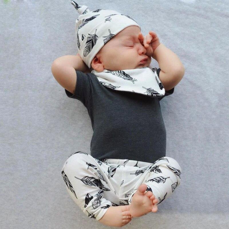 2018 summer baby boy clothes short & Long sleeve T shirt+pants+hat+Bibs 4pcs suit newborn clothes baby girl clothing set infant