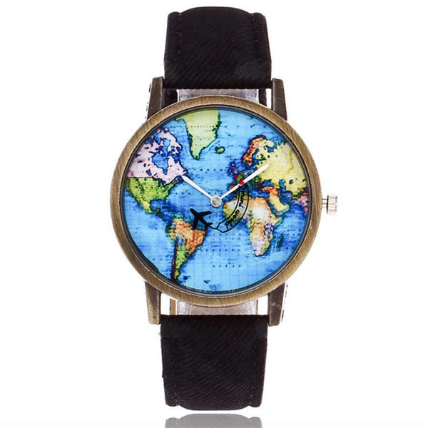 Women Watches Ladies Girl Wristwatch Global Travel By Plane Map Women Dress Watch Denim Fabric Band Relogio Feminino