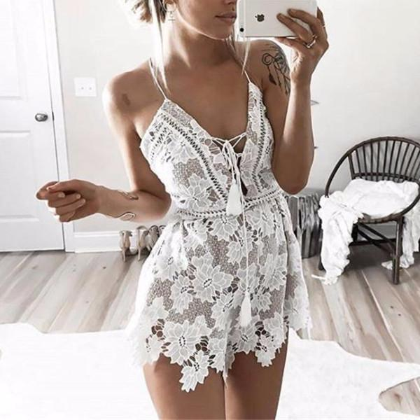 Summer Stitching Lace Suspenders Party jumpsuit Women Casual V Neck Beach romper ovealls Sleeveless jumpsuit vestido