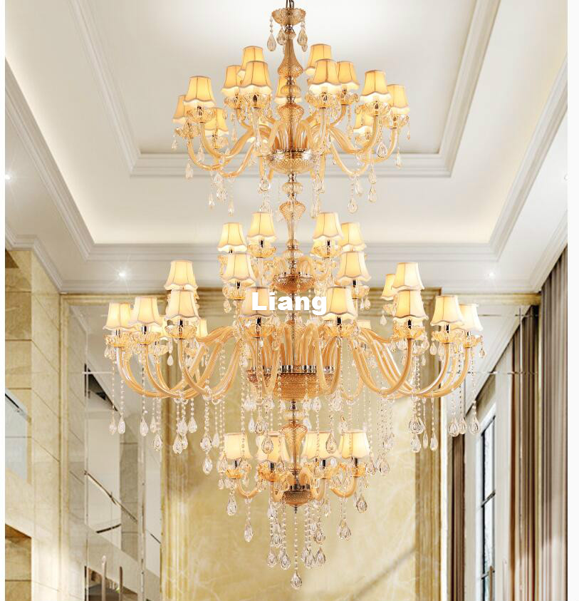 Free Shipping Modern Champagne Crystal Chandelier Hotel Hanging Lamp - Indoor Lighting
