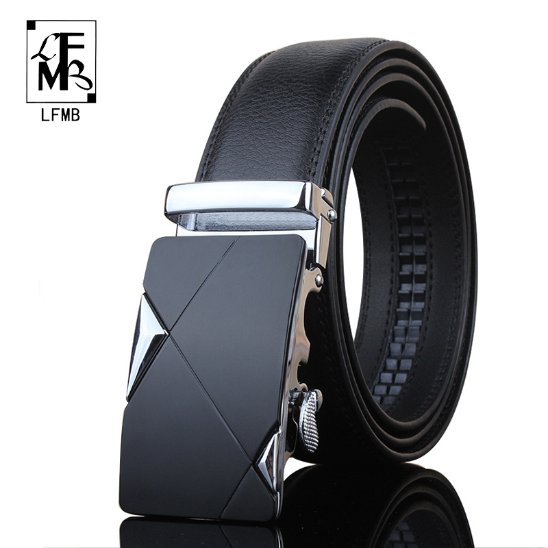 [LFMB] 2016 Utomatic Buckle Belts Luxury Automatically Cowhide Men Belt  Black Belts For Men