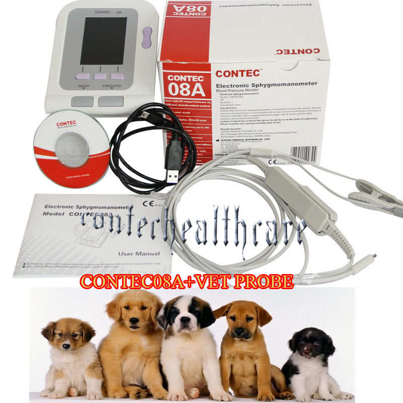 Vet Veterinary Digital Blood Pressure&Heart Beat Monitor NIBP+probe+cuff 6-11cm veterinary blood pressure cuff of patient monitor for small animals with single tube full 5sizes packing