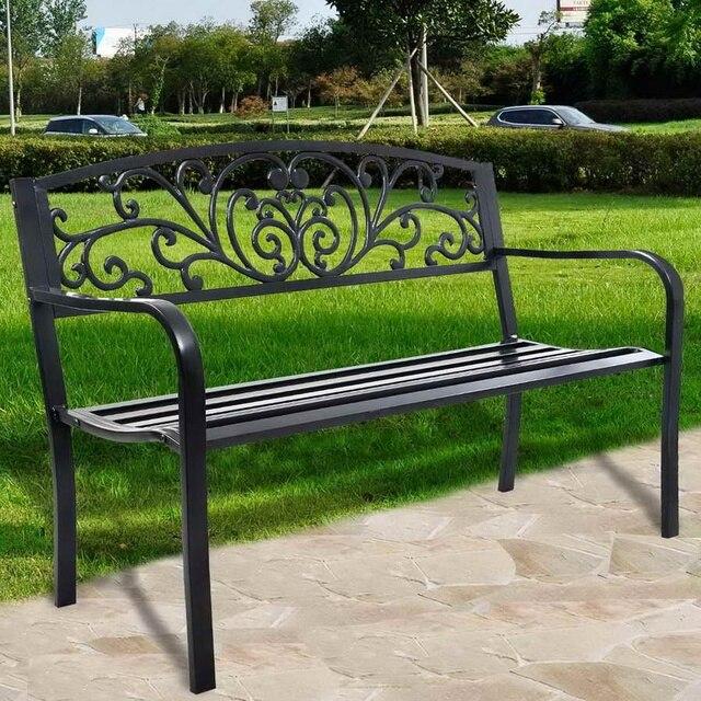 Banco de Jardin Parque Muebles Acero flores posterior aire libre ...