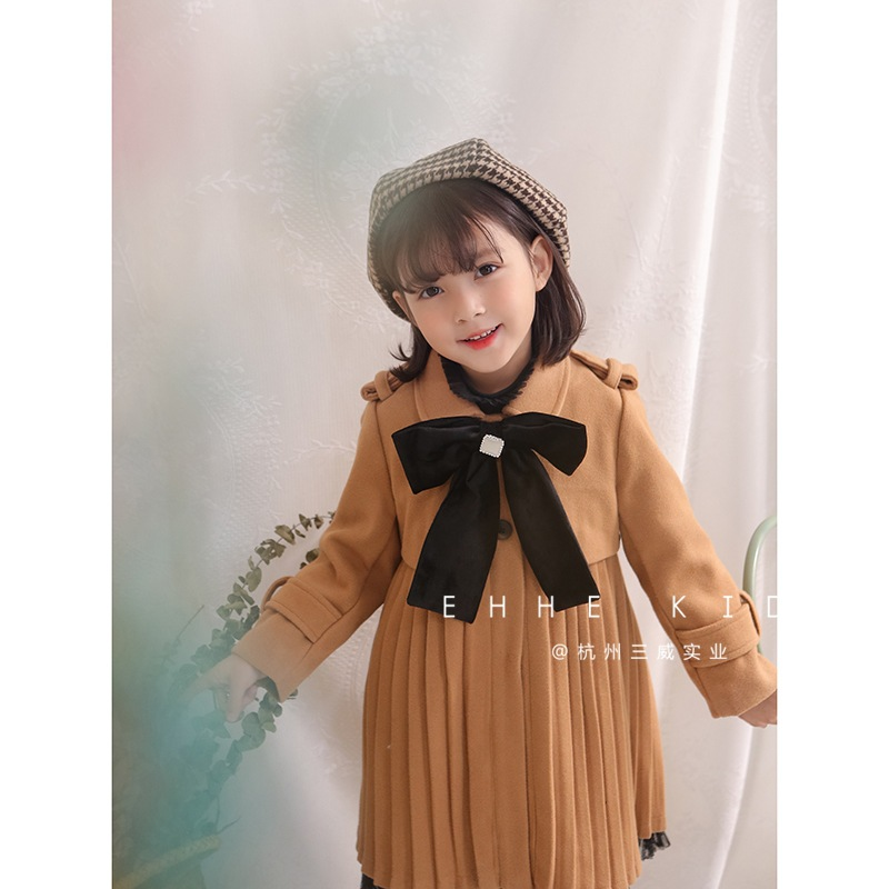 2018 autumn and winter new girls princess bow tie wool coat baby pleated compression wrinkle long coat