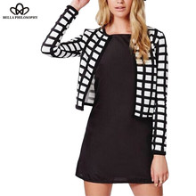 2016 spring autumn new white black check plaids print thin bomber women jacket cardigan