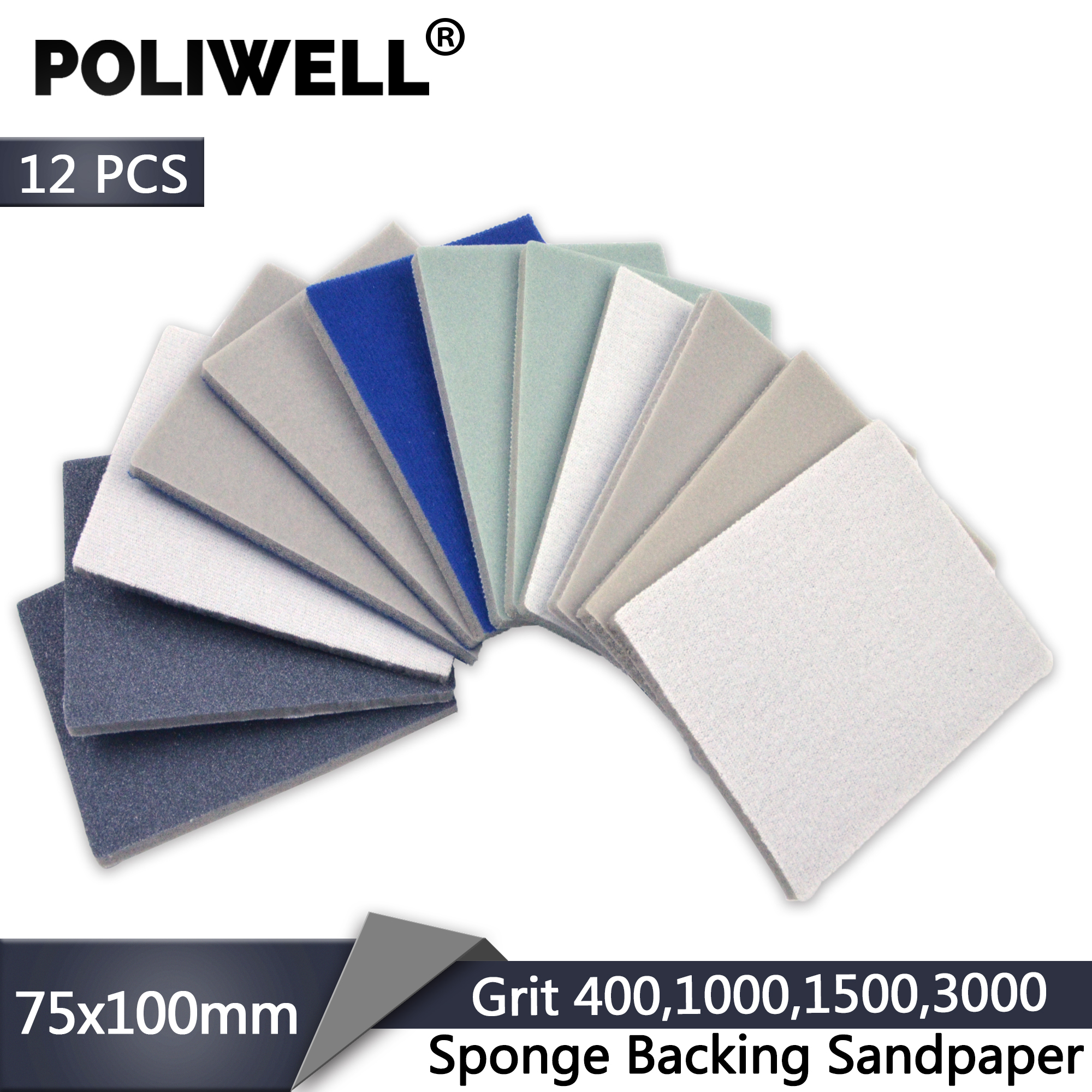 POLIWELL 12Pcs 75x100mm Sanding Sponge Block Pad Sandpaper 400 1000 1500 3000 Grit Flocking Abrasive Paper Sponge Sanding Sheets