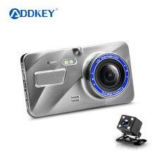 """ADDKEY регистраторы двойной объектив Автомобильный видеорегистратор камера Full HD 1080 P """" IPS спереди+ сзади синий зеркало ночного видения видеорегистратор Автомобильный видеорегистратор"""