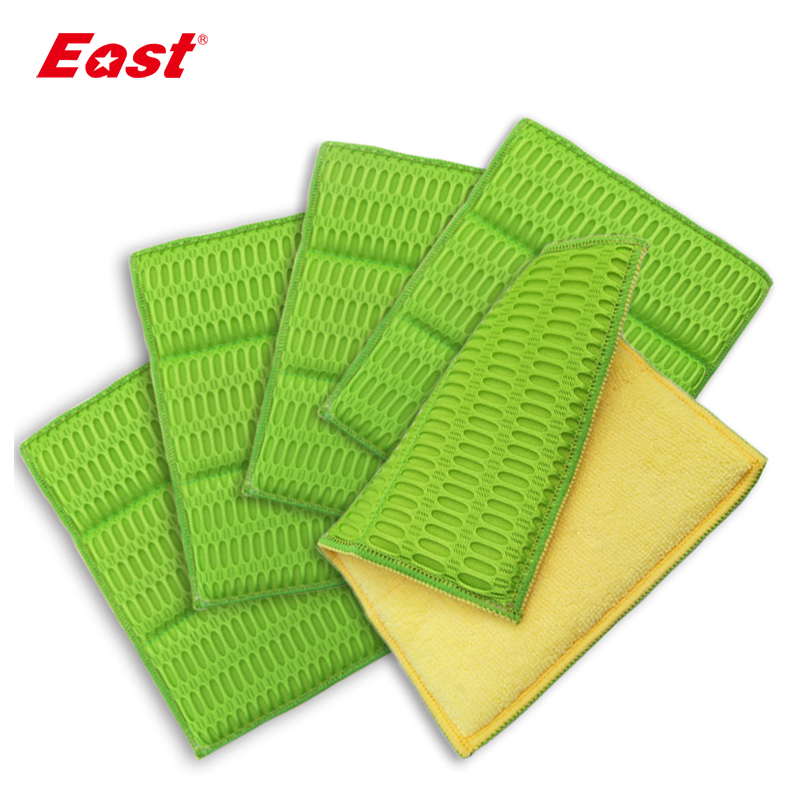 East 5 Pcs 18X24CM Microfiber Dish Cleaning Cloth Green Washing Dishes Scouring Pad Wiping Rags Kitchen Cleaning