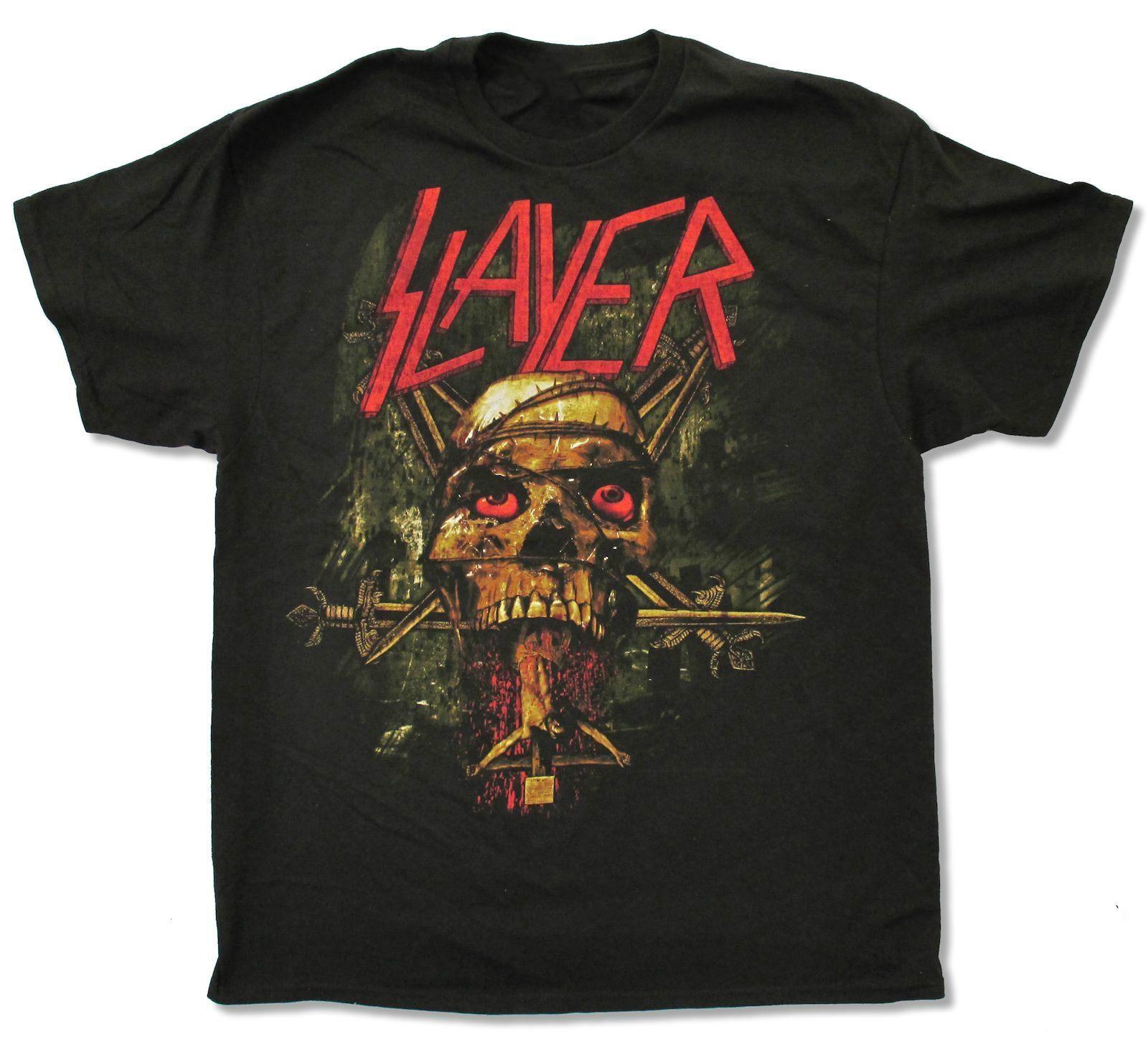 Black t shirt printing - Slayer Crucifix Black T Shirt New Official Adult Band Music Skull Cross T