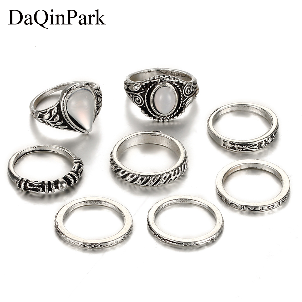 8Pcs Ring Setting Vintage Antique Silver Color Water Drop Stone Knuckle Rings Set for Women Boho Carving Midi Ring Party Jewelry