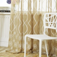 2018 Hot Sales Embroidered european small waves style Window sheers Home Decor Curtain Cut Flowers tulles 1pc