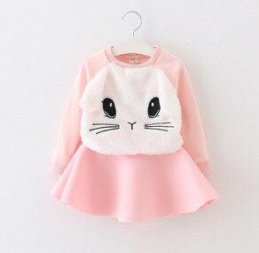 Autumn and winter coral velvet girl cartoon kitten dress factory direct sale spot