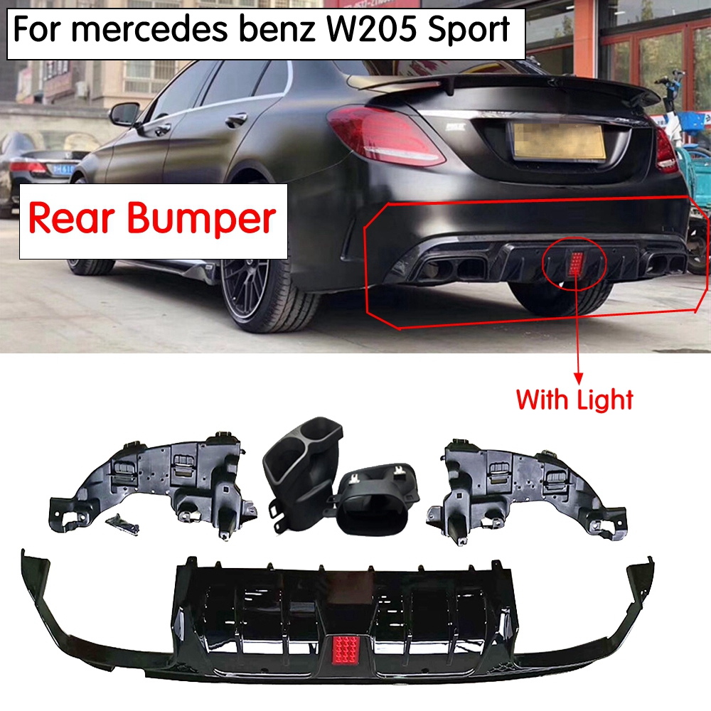 W205 B Style Rear Bumper diffuser with Led light with Exhaust tips for mercedes benz C200 C300 C400 C43 AMG C63 AMG 2015-2019