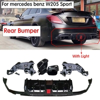 W205 B Style Rear Bumper diffuser with Led light with Exhaust tips for mercedes benz C200 C300 C400 C43 AMG C63 AMG 2015 2019