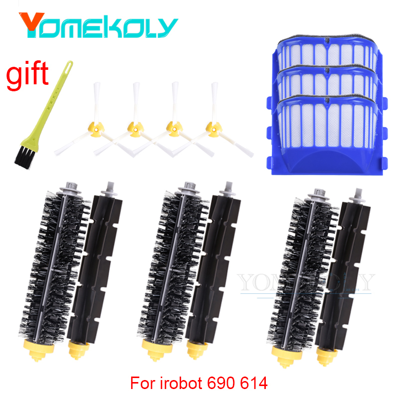 Robot Vacuum Cleaner Accessories for iRobot Roomba 585 595 600 620 650 690 614 Vacuum Side Brush Filter Main Brush Kits 3pcs side brush vacuum cleaner filter for 600 one rolling brush glue flat comb circular rolling brush for roomba