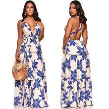 Womens Summer Boho Maxi Long Dress Evening Party Beach Dresses Sundress Floral Halter Deep V Neck Sexy S-XXL
