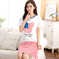 Summer Underwear Cotton Sleepwear Nightie Tops Shrits  Women Sleep&Lounge Classic Striped Nightdress Sleepshirts