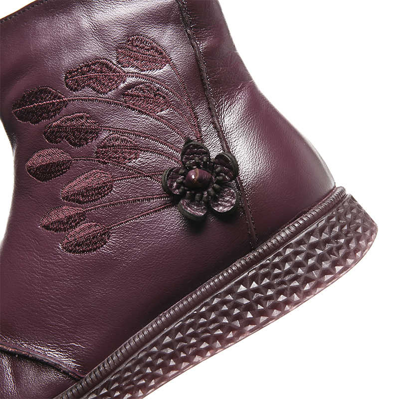 Vrouwen Platte Platform Schoenen Herfst Winter Schoenen Echt Leer Enkellaars voor Vrouwen Schoeisel Soft Vintage Dames booties 2019