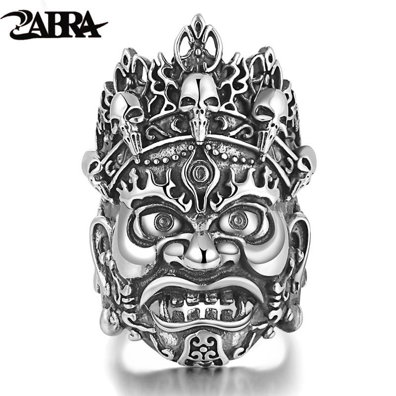 ZABRA Authentic Soild 925 Silver 36mm Opening Religion Buddhist Big Ring for Men Vintage Steampunk Biker