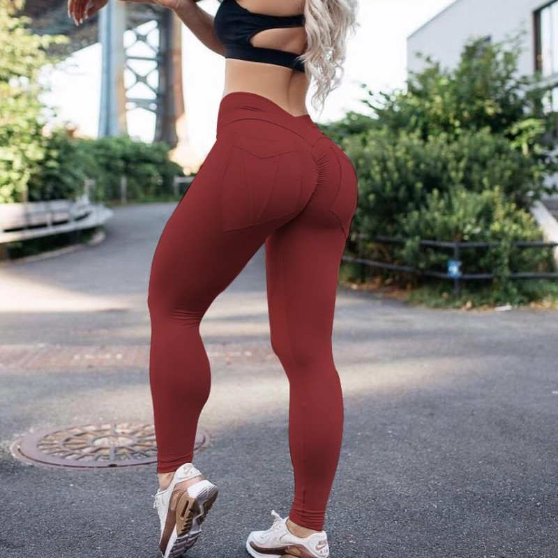 Pocket High Waist Leggings Women Fitness Workout Activewear Wine Red Green Trouser Fashion Patchwork Push Up Female Leggings