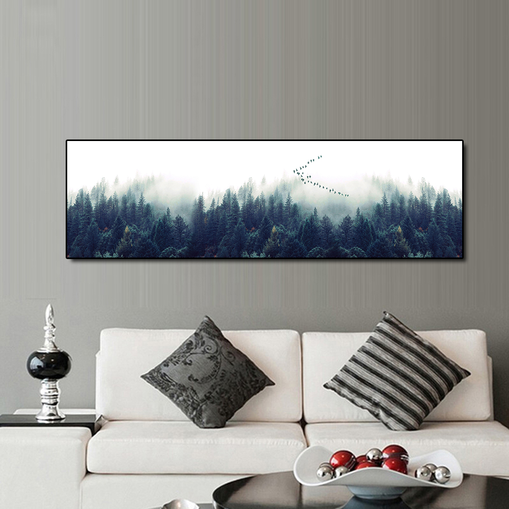 QKART Canvas Oil Painting Tree Wall Art Poster and Prints Modern Home Decoration Canvas Art Sets Wall Pictures
