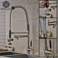 Luxury Deck Mounted Spring Kitchen Water Taps Two Spout Brushed Nickel Kitchen Mixer Faucet Single Handle