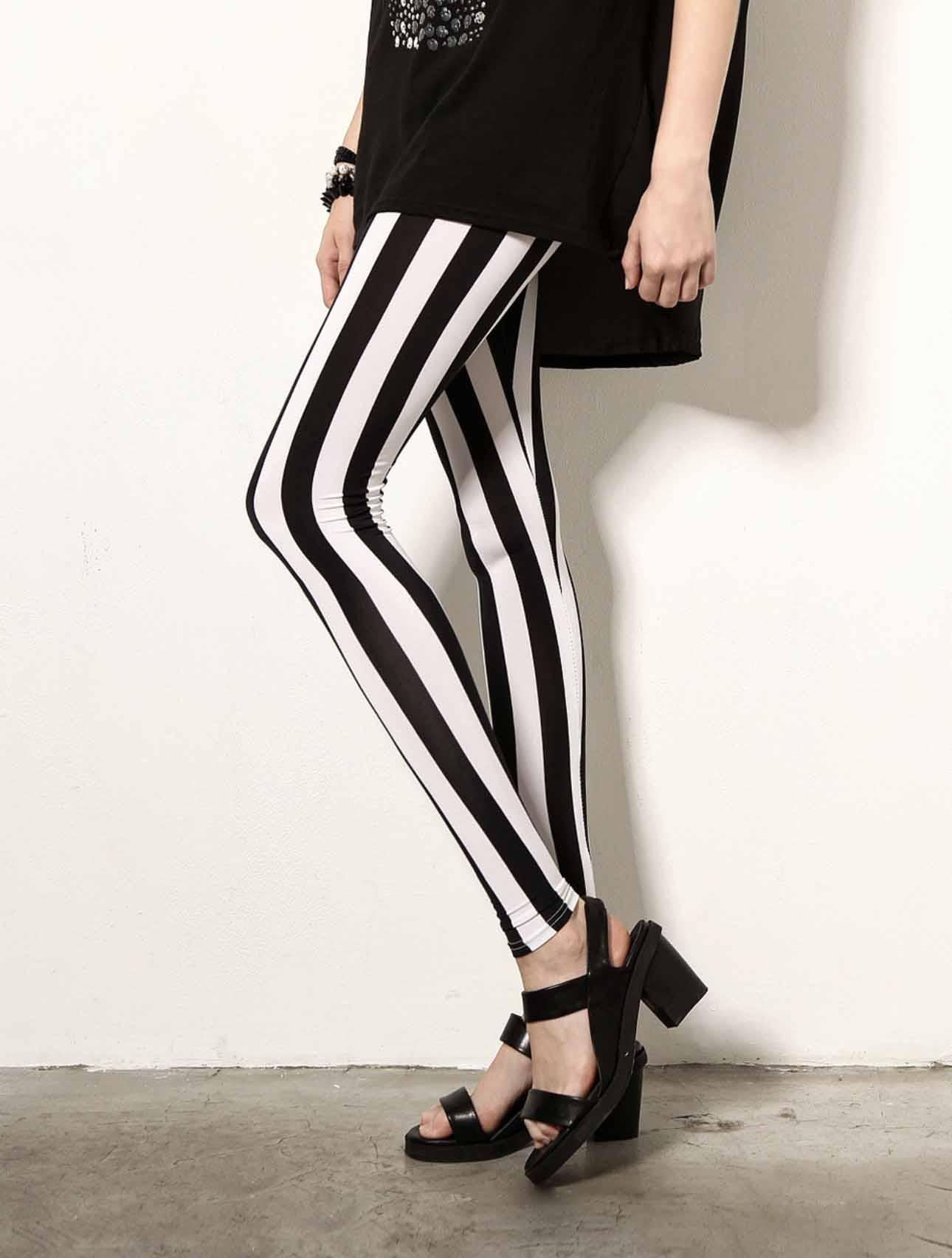 New Black White Striped Vertical Printed   Leggings   Gothic Creative Fitness Women Punk Shape Slim Sexy Popular Pants Drop shipping
