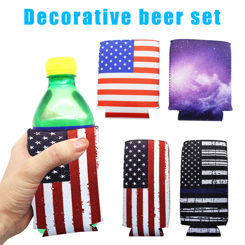 6pcs Beer Skinny Canned Refrigerated USA Flag Slim Can Cooler Sleeves Set