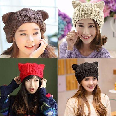 Fashion Winter Women Warm Beanie Devil Horns Cat Ear Crochet Braided Knit Ski Wool Cat Hats выпрямитель волос vitek vt 2324 35 чёрный
