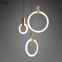 Villa Stairs Led Pendant Lights Acrylic Circles Lustre Pendant Light Wood Pendant Lamp Led Drop Light