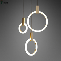 Villa Stairs Led Pendant Lights Acrylic Circles Lustre Pendant Light Wood Luminaria Indoor Lighting Lamparas Suspension