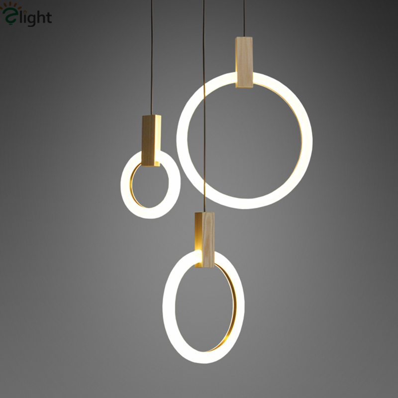 Villa Stairs Led Pendant Lights Acrylic Circles Lustre Pendant Light Wood Pendant Lamp Led Drop Light Hang Lamp Suspend Lamp