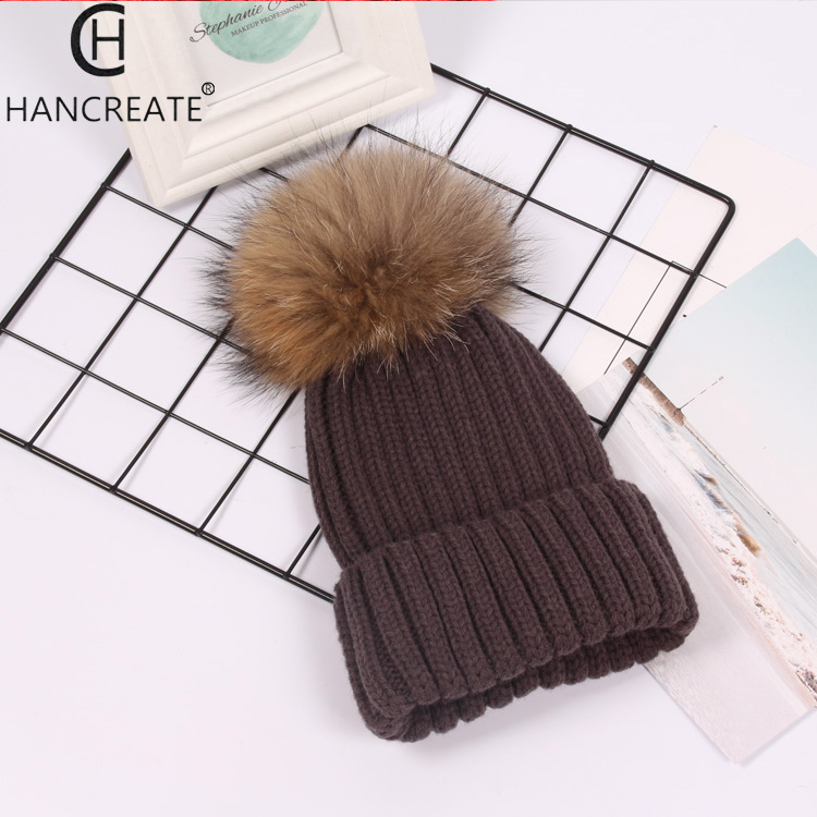 Raccoon fur  ball cap pom poms winter hat for women girl 's hat knitted beanies cap brand new thick female cap 11colors 7845 new star spring cotton baby hat for 6 months 2 years with fluffy raccoon fox fur pom poms touca kids caps for boys and girls