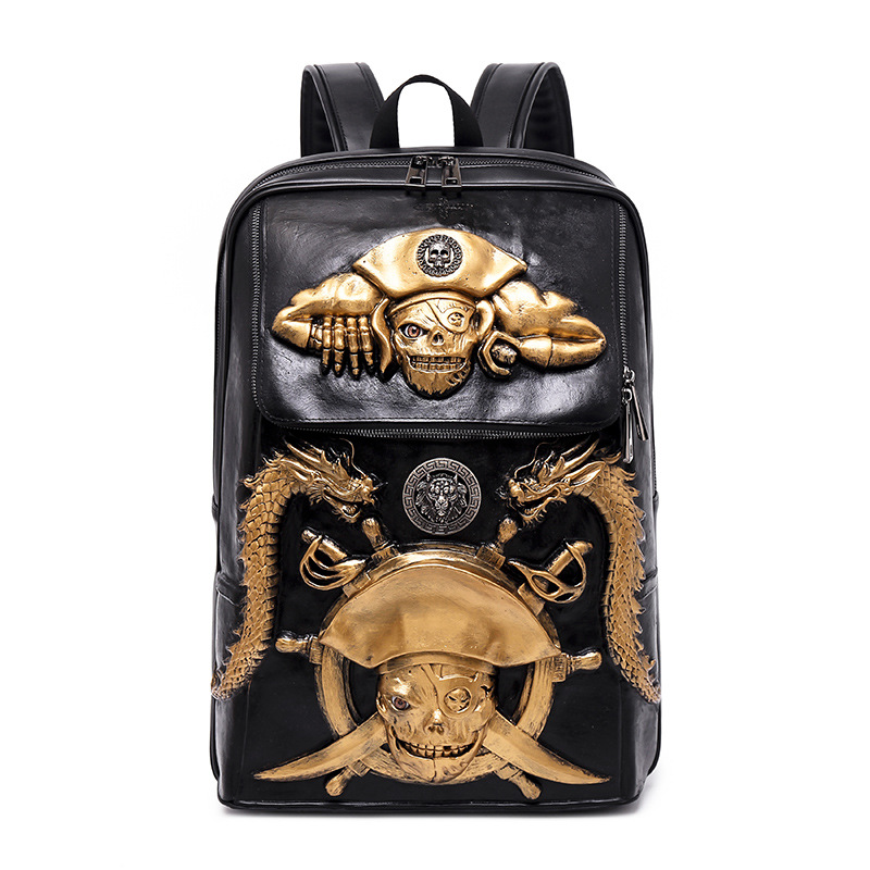 2018 Vintage Rock 3D Pirat PU Leather Backpack Fashion Men's Big School Laptop Back Packs Cool Travel Large Capacity Rivets Bags нож dark talon extrema ratio