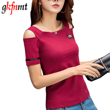 2017 Fashion Women Summer Off Shoulder Top Plus Size Women T shirt Cotton Solid Ladies T-shirt Black Red White Femme XXXL