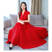 Red S-3XL plus size Temperament Dress women 2019 Summer Blue White Black V-neck Slim Sleeveless Fashion maxi Dress vestido JD295 цена