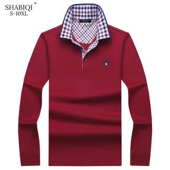 93a83549d2 Primavera otoño nueva llegada moda marca Polo Camisetas manga larga Camisa  ajustada algodón Casual camisetas hombres talla grande S-10XL