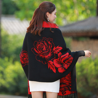 Brand winter scarf women female wool Black Red With sleeve cashmere coat cloak thickening double sided air dual purpose shawl