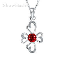 Geometric Flower Heart Shape Silver Plated Red Zircon Women Pendant Necklaces Hot Seller Engagement Gift For Friends SHNE0387