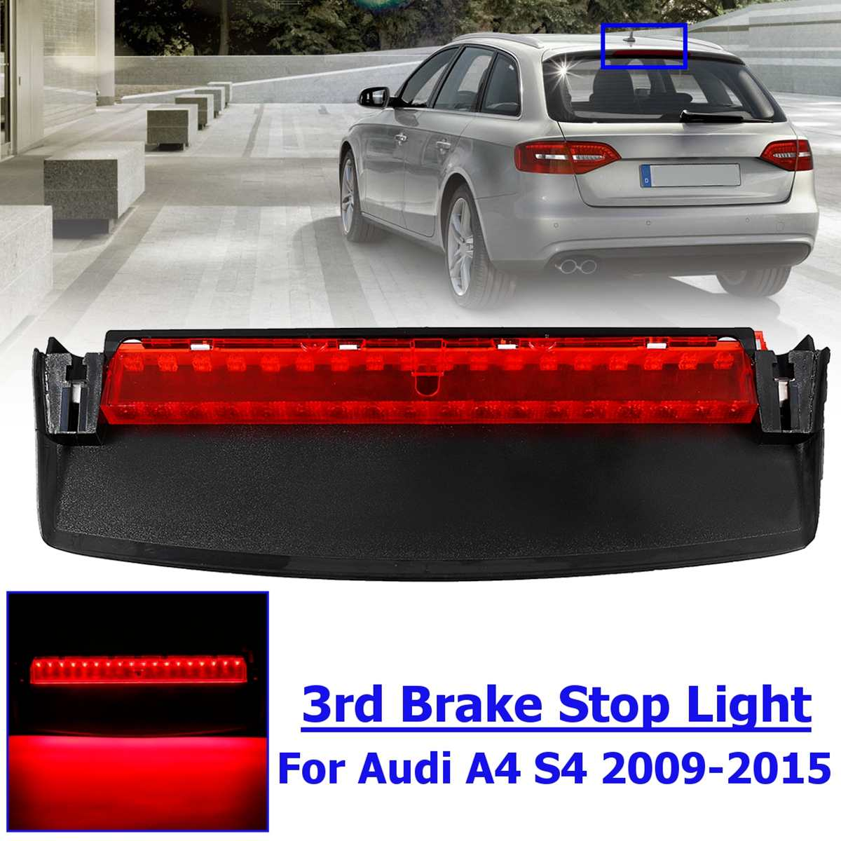 For <font><b>Audi</b></font> <font><b>A4</b></font> Quattro S4 2009 <font><b>2010</b></font> 2011 2012 2013 2014 2015 8K5945097 Rear LED Third High Brake Mount Stop Lamp Light image
