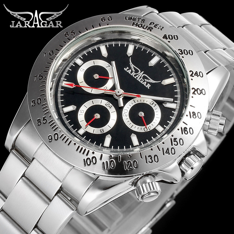 Jargar Automatic Men Watch Stainless Steel Band Mechanical Wristwatches with Gift Box jag6903m4t1 new popular jargar automatic men watch factory stainless steel band best price free shipping with gift box