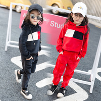 Spring Autumn Girls 2pcs Clothes Sets Long Sleeve Hoodies Loose Pants Classical Black Red Kids Outfits