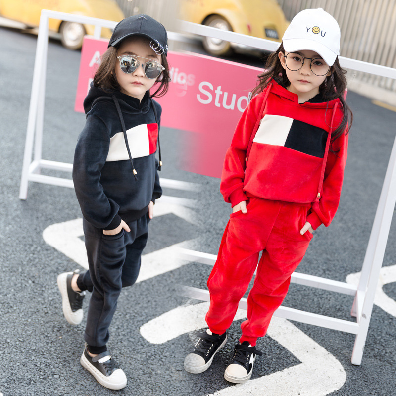 Spring Autumn Girls 2pcs Clothes Sets Long Sleeve Hoodies +Loose Pants Classical Black Red Kids Outfits Soft Hip Hop Clothing 2017 brand girls print striped clothes set for autumn spring girls long sleeve top pants girls school hip hop sport clothing set