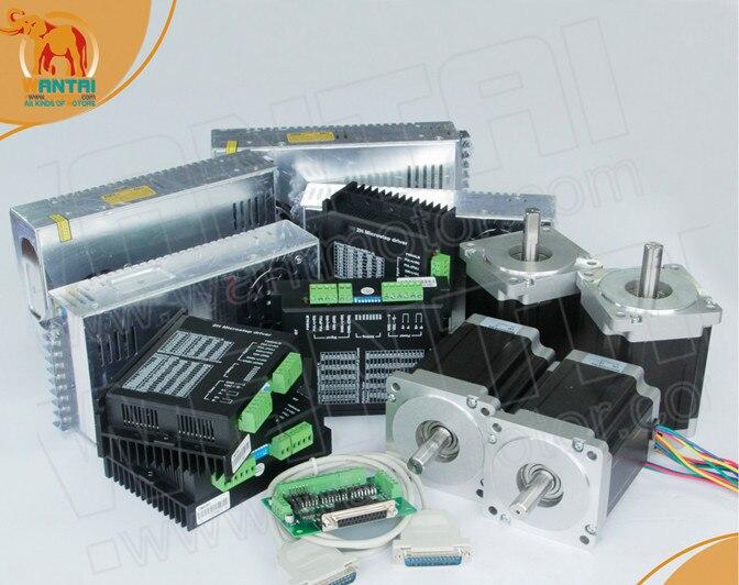 Vente chaude! Wantmotor 4 axes Nema 34 moteur pas à pas 85BYGH450C-012B double arbre 1600oz-in + pilote DQ860MA 7.8A 80 V 256 Micro CNC
