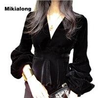 Mikialong 2018 Spring V Neck Velvet Blouse Women Korean Ruffle Peplum Shirts Fashion Lantern Long Sleeve