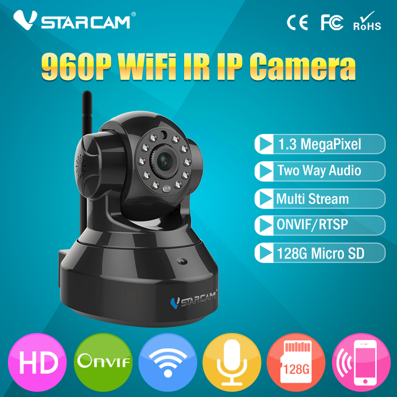 VStarcam C37A free shipping Wireless IP Camera Infrared P2P WiFi CCTV Camera Pan/Tilt Webcam Indoor Camera  Black or White