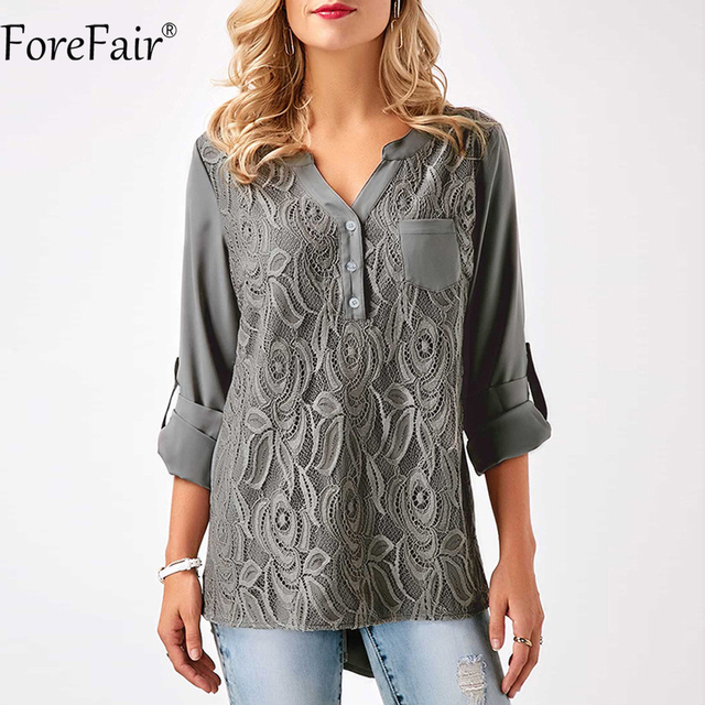 Forefair S-3XL для женщин; Большие размеры Топы корректирующие Вернуться Chic Кнопка Ruched Стиль Кружево Шифоновая блузка Черный, серый цвет бордовый Повседневное Кружевная рубашка