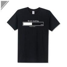 Brain Loading Gamer Computer Geek Funny Printed T Shirt Men's Loose Fit Cotton T-Shirt Short Sleeve Tshirt Top Tees Plus Size