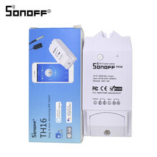 SONOFF TH16 interruptor Wifi 16A con Sensor impermeable inalámbrico temperatura y humedad Monitor medición inteligente Google Home Alexa(China)