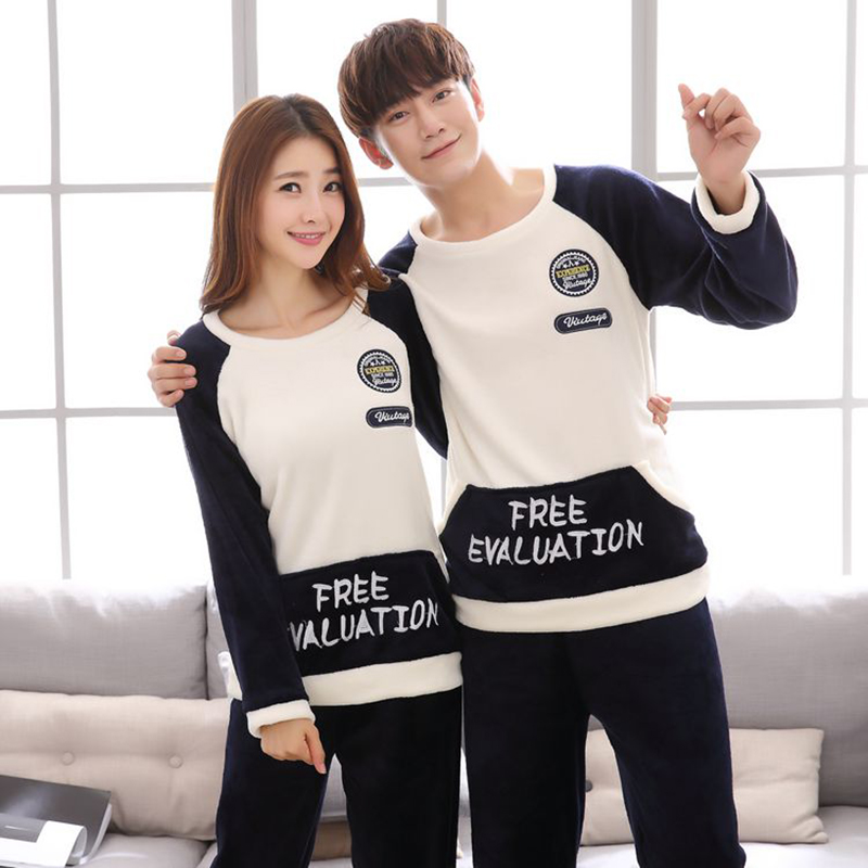 2018 Winter Couples Thick Warm Flannel   Pajamas     Sets   for Women Long Sleeve Coral Velvet Pyjama Men Cartoon Homewear Home Clothing